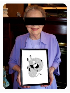 Jeanette Durand after Fred le Chevalier returned her art piece.