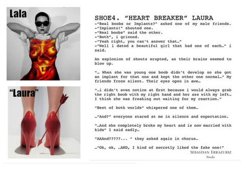 """Comparing image of Lala with text from Sebastian Errazuriz's text from """"12 shoes for 12 ex-lovers"""" series."""