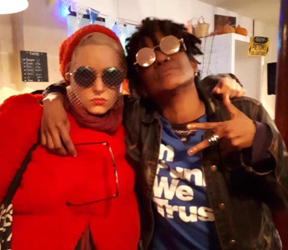 """Lala Drona and Jamika Ajalon who contributed a vocal clip to """"The Beard"""" art video."""