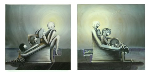 Between Us by Lala Drona, painting 2 panels about women either uniting or destroying one another.
