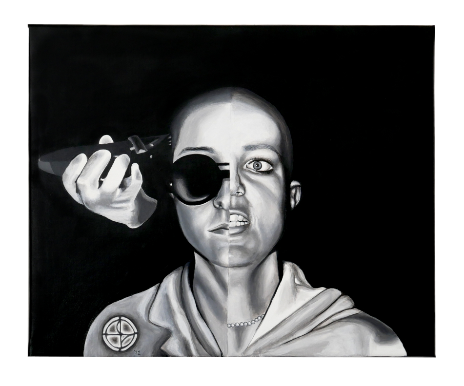 Painting by Lala Drona depicting a woman's head being shaved.  One half of the face is Lala Drona, the other half is Britney Spears after shaving her head.