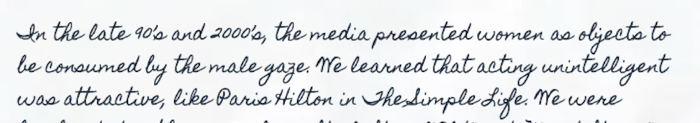 """Handwritten note by Lala Drona: explaination of inspiration behind her painting """"Shaved"""""""